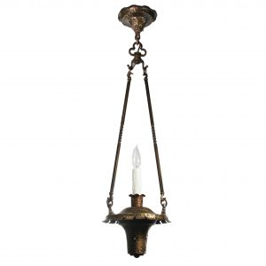 SOLD Antique Bronze Pendant Light, Early 1900's-0