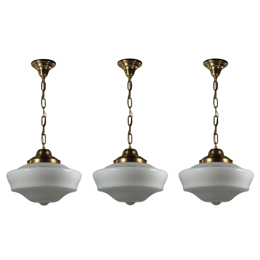 Matching Brass Schoolhouse Pendant Lights Antique Lighting Antique Lighting Ceiling Lighting Pair Multiple Chandeliers Pendant Lighting Recent Arrivals The Preservation Station
